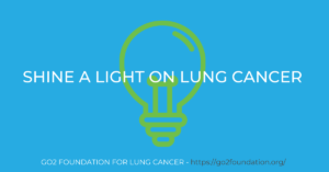Shine a Light on Lung Cancer text with lightbulb