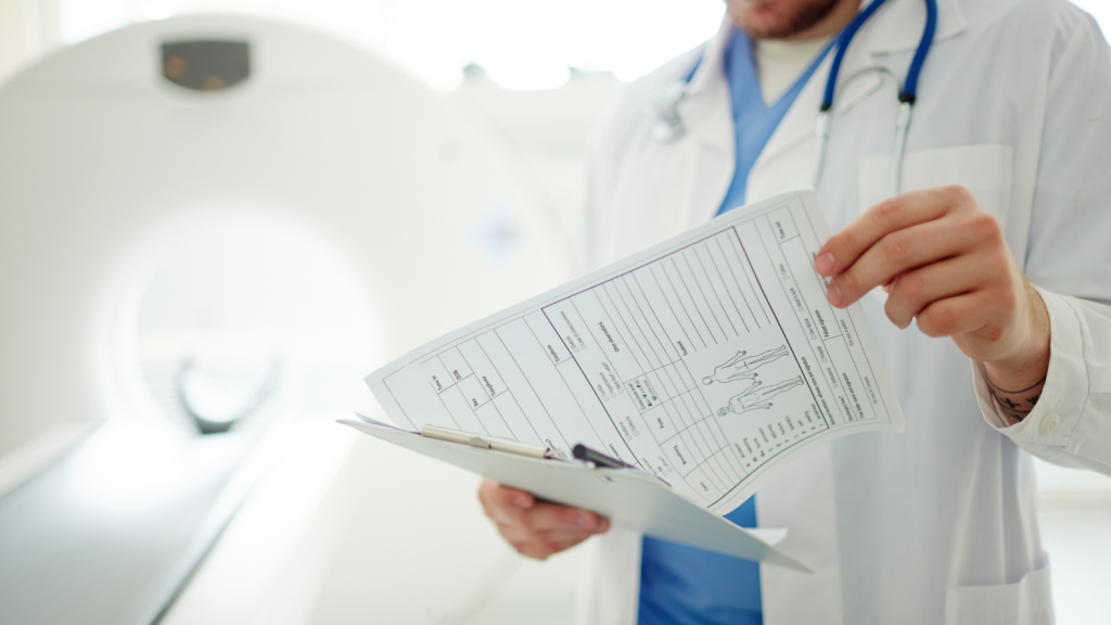Physician Examining CT Scan